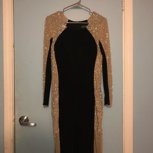Xscape Long Sleeve Beaded Illusion Gown